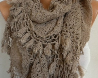 ON SALE --- Knitted Lace Ruffle Scarf Winter Accessories Knit Shawl Scarf Cowl Scarf Long Scarf Gift For Her Women's Fashion Accessories