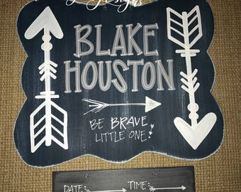 hospital door hanger // arrows {be brave little one} navy + gray