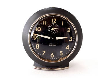 Vintage Baby Ben Westclox Alarm Clock in Black (c.1943) -  Collectible Clock, Steampunk Supplies, Clock Parts