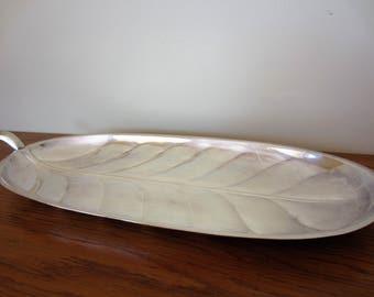 Vintage leaf silver tray.