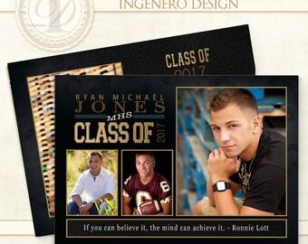 Graduation Invitation, Custom, Photoshop Template,  Templates, Graduation Cards, Senior Boy, Graduation Announcements, Ryan J Invitation
