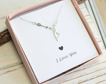 Sterling Silver Arrow and Heart Necklace with CZ Accent