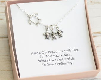 Sterling Silver Sea Turtle Family Tree Necklace with Sentiment Card... Choose How Many Baby Turtles...