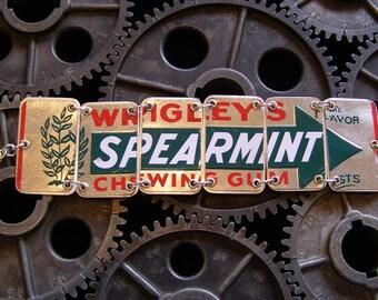 Recycled / Upcycled Wrigley Spearmint Gum Tin Bracelet