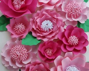 Large Pink Paper Flowers Set of 11 Large Paper Flower Photo Prop Backdrop Decor DIY Backdrop RTS