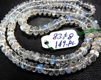 Rainbow Moonstone Faceted Rondelle Beads Strong Blue Fire  AAA High Quality Size 3MM To 6MM Approx-83Ct-149Pc  14'' Wholesale Price