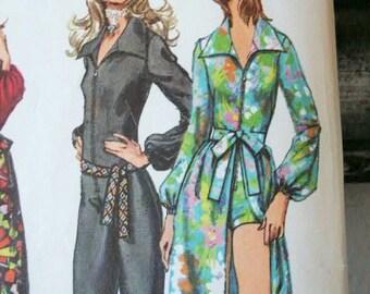 Vintage 70s Hippie Era Boho  Jumpsuit Long or Short Skirt Open in Front Tie Belt Deep V Neckline Sewing Pattern 9674 Size 10 Bust 32 1/2