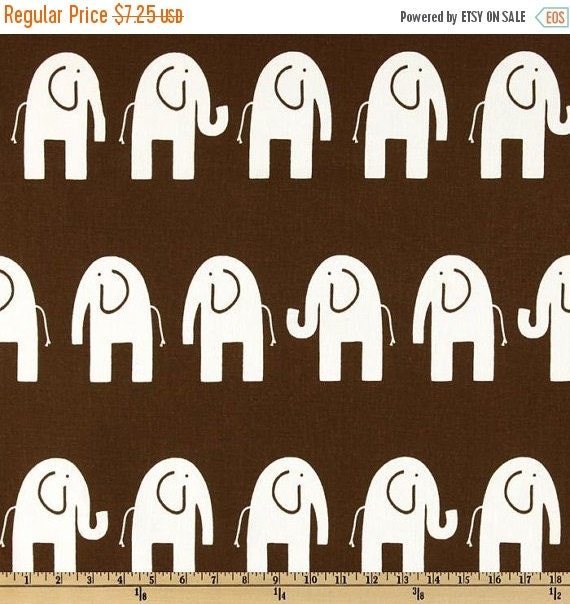 Premier Prints Elephant Fabric/White Elephants on Brown Fabric/Nursery Fabric/Home Decor Fabric/Children's Fabric/Fabric by The YARD ONLY