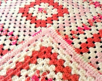 Granny Square Throw Afghan - 54 inch Multi Color Throw with White - Grandma's Garden Throw