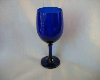 Libby Cobalt Blue Rock Sharpe Stem Wine Glass