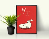 Whale Wall Decor • Alphabet Letter Room • Childrens Book Page • Ocean Nautical Theme • White and Orange Poster • Silly Kids Playroom Art