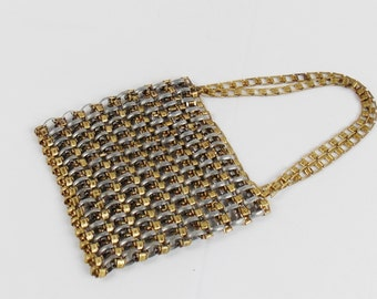 Vintage CHAINMAIL HEAVY GOLD And Silver Bag Street Style Fashion Designer Chain Mail  bag