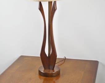 Danish modern lamp, Mid Century table lamp, Teak table lamp, Mid Century Modern