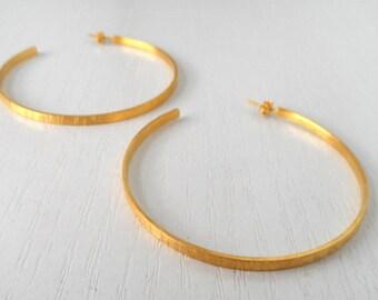 Hammered Hoops, Gold Plated Hoop Earrings, Brass Hoop Earrings, Minimalist Earrings, Brass Earrings