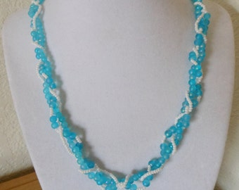 Vintage blue and white beaded necklace/blue beads with aurora borealis and white seed bead necklace/womens blue and white beaded necklace