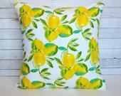 Lemon throw pillow cover. 20x20 pillow cover. Yellow pillow. Yellow decor. Cushion cover. Home Decor. Toss pillow. Sofa pillow.