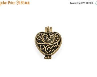 "15% OFF 2 Bronze Metal Filigree Open HEART LOCKET Perfume Diffuser Pendants, 1-1/4"" wide, chb0320"