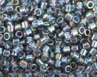 Size 10/0 Miyuki Delica Seed Beads, Transparent Light Grey AB, 7.2 Grams, Color DBM0179, bsd0079