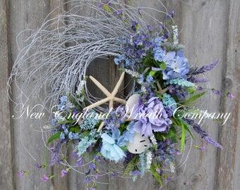 Spring Wreath, Beach Wreath, Easter Wreath, Summer Wreath, Seashell Wreath, Cottage Wreath, Coastal Wreath, Nautical Decor, Floral Wreath