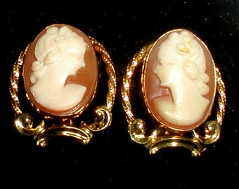 Vintage Victorian Revival 12K Gold Filled Cameo Earrings Classic Blush Pink
