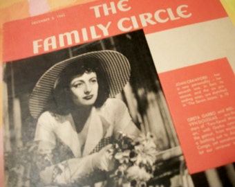 The Family Circle, three issues 1941-45, Joan Crawford, Dinah Shore vintage ads