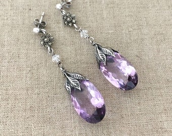 Sterling Silver Earrings Gift for Her - Sterling Silver Dangle Earrings - Lavender Glass Drop Earrings - Handmade Jewelry