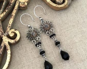 Long Gypsy Earrings, Black Bohemian Earrings, Gypsy Dangle Earrings, Silver Flower Chandelier Earrings, Unique Bohemian Jewelry Gift for Her
