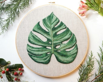 Huge Monstera Leaf - Needle Felted Wool Painting Hoop - 12""