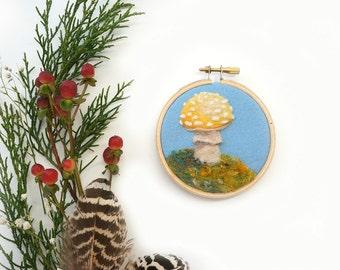 "Woodland Toadstool 41 - Needle Felted Wool Painting Hoop - 3"""