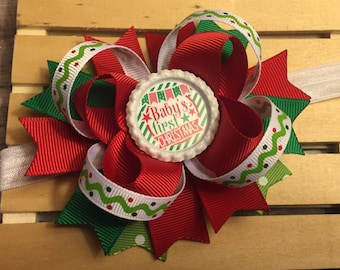 Baby's First Christmas Hair Bow , First Christmas Hair Bow Red white and green - First Christmas Bow - Baby's first Christmas