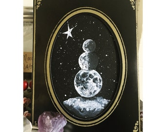 Moon Phases Snowman Cabinet Card - Original Acrylic Painting on Paper - Winter Snow Yule December Crescent Star Christmas Gothic Victorian