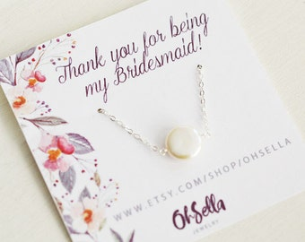 Coin Pearl Necklace, Pearl choker, Bridesmaid Gift, Message Card Necklace, Meaningful Wedding Gift