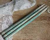 Vintage Wooden Towel Rack, 3 Arm Wall Drying Rack, Green and Cream Paint, Primitive ,Farmhouse, Cottage Decor