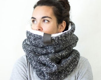 Chunky knit cowl scarf,  Snock®, wool knit cowl with soft faux lamb lining