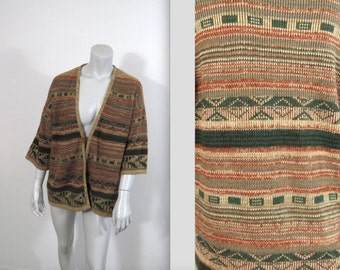 Vintage 70s Earth Tones Boho Aztec Cardigan Sweater  M L