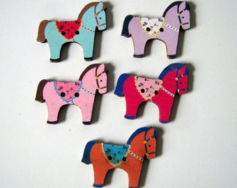 10 Wood Horse Buttons, 29x25mm, Crafts, Sewing, Scrapbooking
