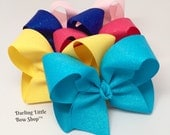 """Glitter Bow, Glitter Hairbow - Shimmer & Shine - 4-5"""" bow in color of your choice - yellow, turquoise, light pink, royal blue, ETC"""