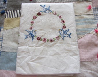 Vintage Embroidered Pillowcase Bluebirds Floral Wreath White Cotton Muslin
