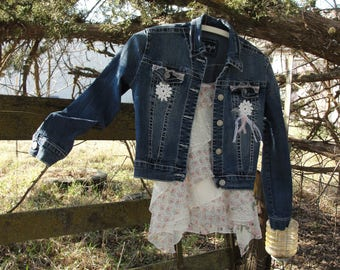 Lacey jean jacket, mori girl, shabby chic clothing, vintage lace doily, gypsy boho clothing, Summers Breeze, bohemian