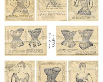 Digital Clipart, instant download, Vintage Ladies illustrations corsette corset catalog--Digital Collage Sheet (8.5 by 11 inches)  4033