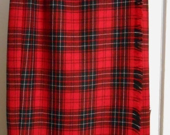 Black Friday 1980s Plaid Wrap Tartan Skirt Holiday Red Plaid Size 10 Medium Christmas