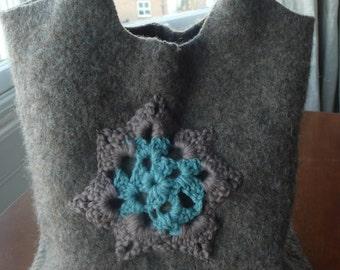 Handmade felt crochet tote bag brown turquoise