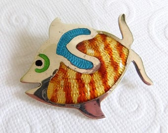 Vintage Taxco Sterling Silver and Enamel Fish Pin Brooch - JF, Jose Federico, Jose Flores or Jeronimo Fuentes,