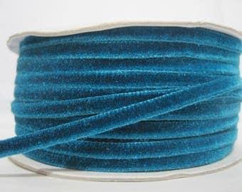 """5 yards 1/4"""" Aqua Blue Velvet Ribbon, Blue Ribbon, Ribbon lot, Wholesale Ribbon, Blue Velvet trim, Blue Velvet Ribbon, blue trim, navy blue"""