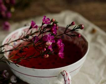 tea photograph, rustic kitchen decor, farmhouse decor, rustic floral art, tea and flowers, cottage decor, country kitchen, wax flowers
