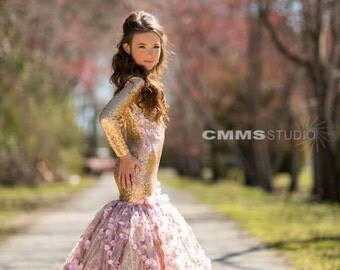 Couture pageant dress, gold sequin mermaid dress