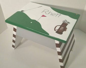 Green And White Golf Step Stool Sport Step Stool Kids Step Stool Stool