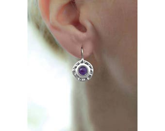 Amethyst Purple earring, Purple Dangle Earring, handmade Amethyst Drop earring, Purple Jewelry, Silver Round Earring, February Birthday Gift