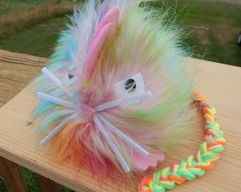 Hairy scary angry pastel mouse attitude plush plushie