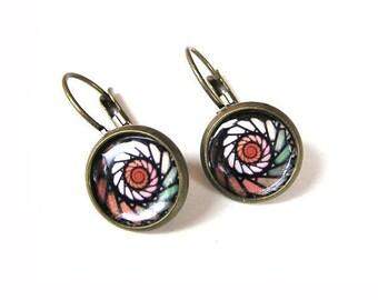 Graphic pattern earrings, Mosaic earrings aesthetic jewelry, Dangle earrings, Lightweight earrings